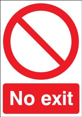No Exit With Prohibition Symbol Window Fix Safety Signs