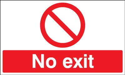 No Exit With Symbol - Stanchion Sign