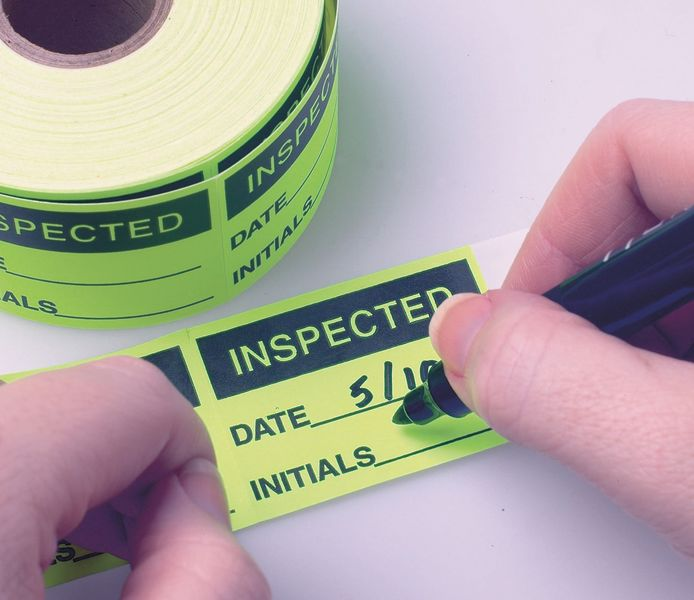 Inspected Date/Initials Fluorescent Write-On Labels