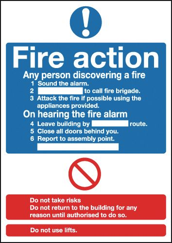 Fire Action (Standard) Window Fix Safety Signs