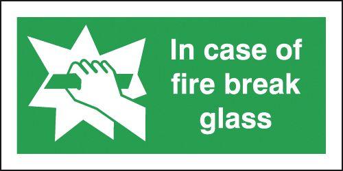 In Case of Fire Break Glass Window Signs