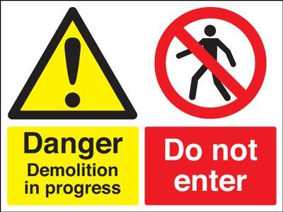 Danger Demolition In Progress Stanchion Sign