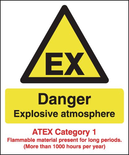 Danger Explosive Atmosphere (Atex Category 1) Signs