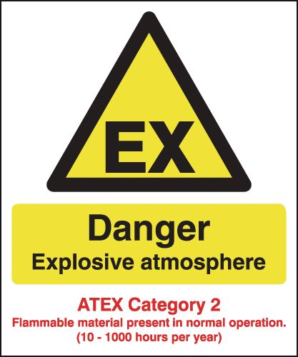 Danger Explosive Atmosphere - Atex Category 2 Signs