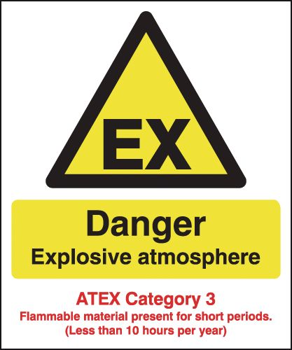 Danger Explosive Atmosphere - Atex Category 3 Signs