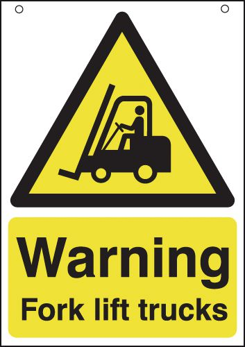 Warning Fork Lift Trucks Double-Sided Hanging Signs