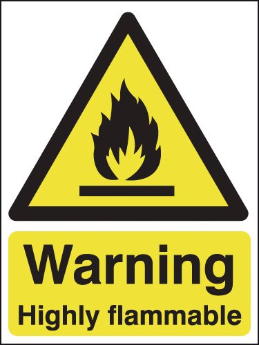 Warning Highly Flammable Signs