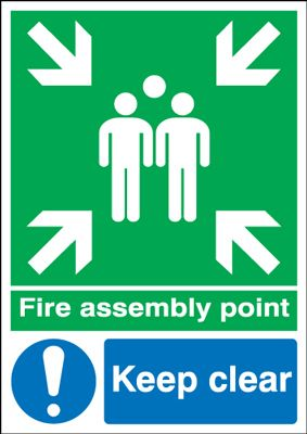 Fire Assembly Point Keep Clear Outdoor Signs