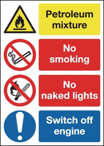 Petroleum Mixture/No Smoking/No Naked Lights Signs
