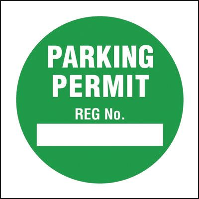 Parking Permit Reg No. Window Cling Parking Labels