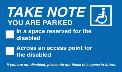 Take Note You Are Parked In ... Parking Window Labels