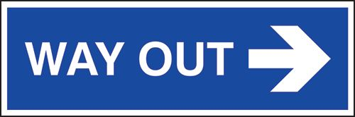 Way Out (Arrow Right) Sign