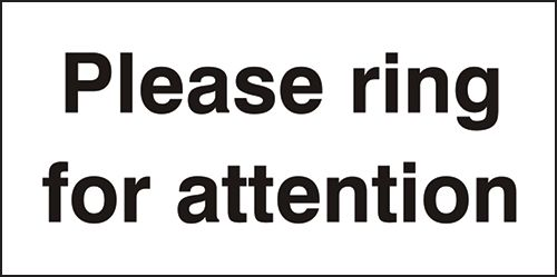 Please Ring For Attention Sign