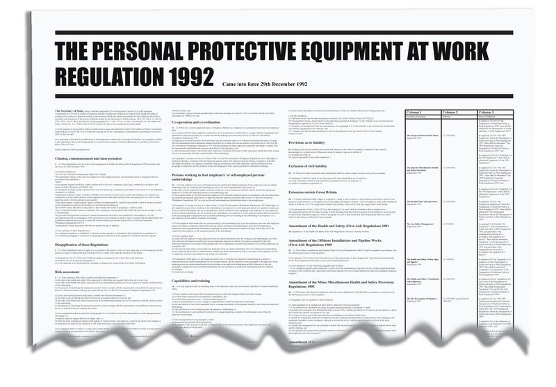 The Personal Protective Equipment At Work Wallchart