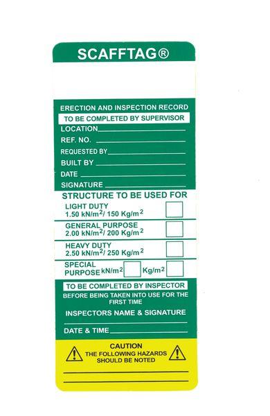 Scafftag® Standard Inspection Inserts