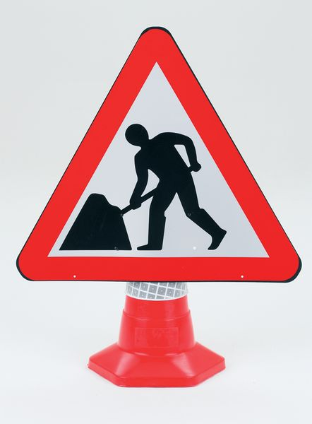 Road Works Traffic Cone Sign