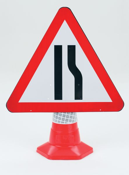 Road Narrow (Right) Traffic Cone Sign