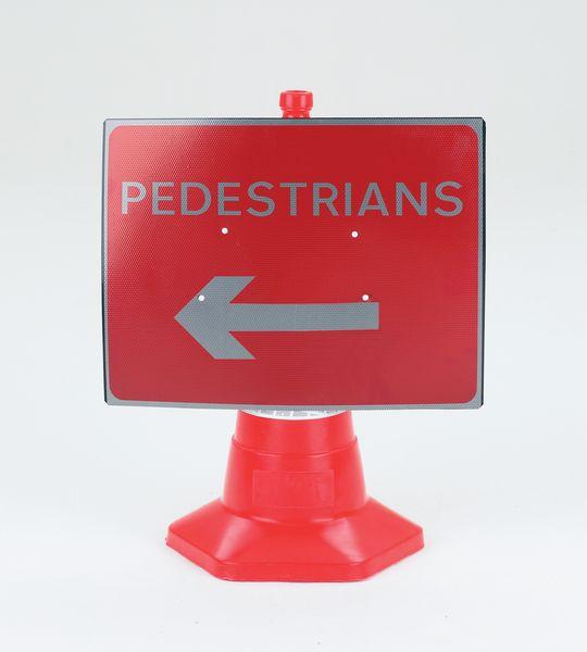 Pedestrians (Arrow Left) Traffic Cone Sign