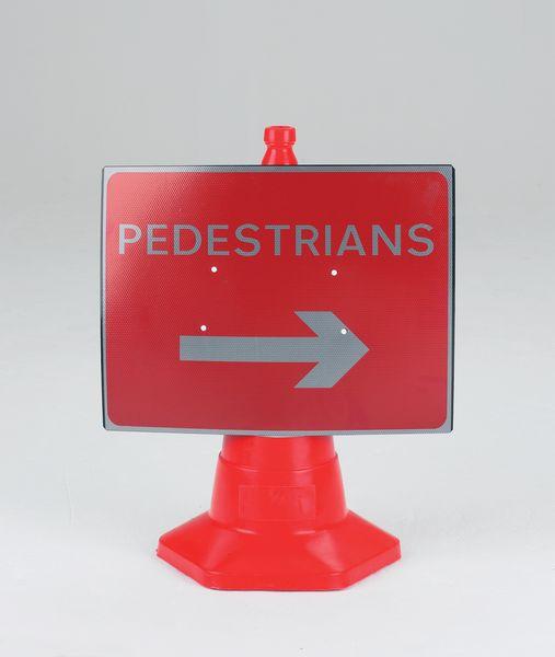Pedestrians (Arrow Right) Traffic Cone Sign