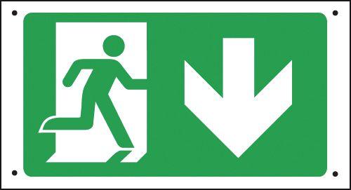 Running Man & Arrow Down - Vandal-Resistant Sign
