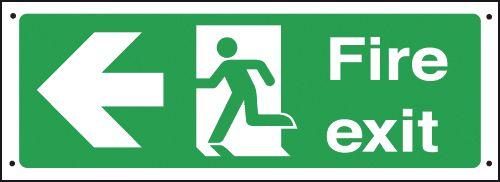 Fire Exit Running Man/Arrow Left Vandal-Resistant Signs