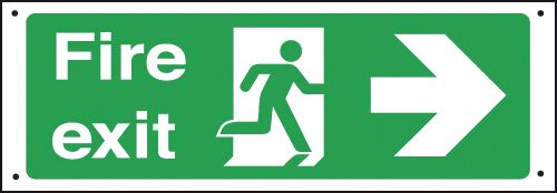 Fire Exit Running Man/Arrow Right Vandal Resistant Sign