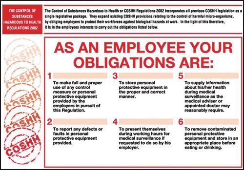 COSHH Regulations Wallcharts - Employee Obligations