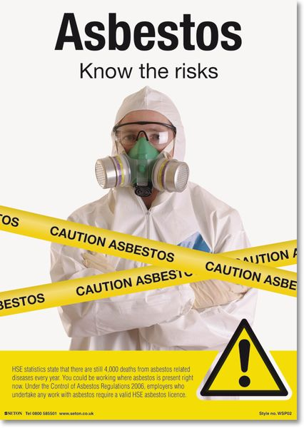Asbestos Know the Risks Safety Awareness Posters