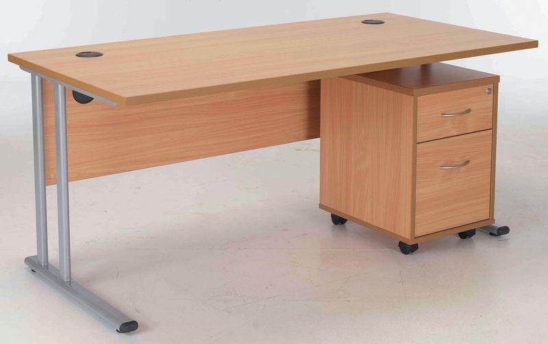 Concept Rectangular Workstation with 2 Drawer Pedestal