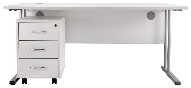 Concept Rectangular Workstation with 3 Drawer Pedestal