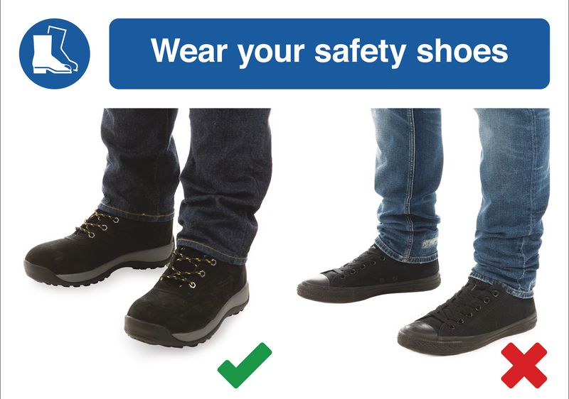 Wear Safety Shoes Do & Don't Visual Signs
