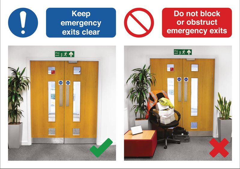 Keep Emergency Exits Clear Do & Don't Visual Signs