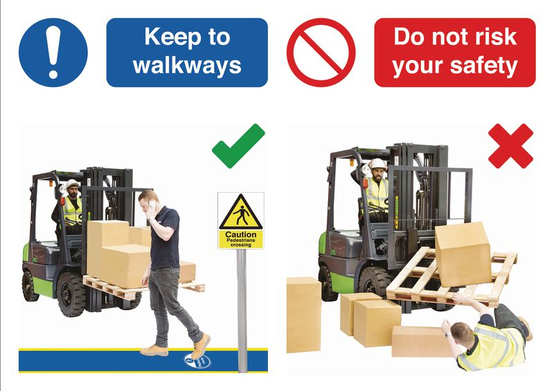 Keep to Walkways Do & Don't Visual Signs