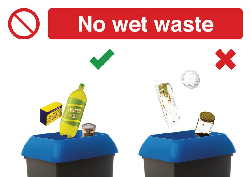 No Wet Waste Recycling Do & Don't Visual Signs
