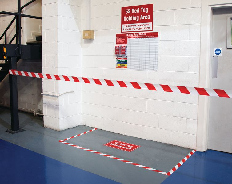 5S Red Tag Holding Area Kits With Tape Barrier