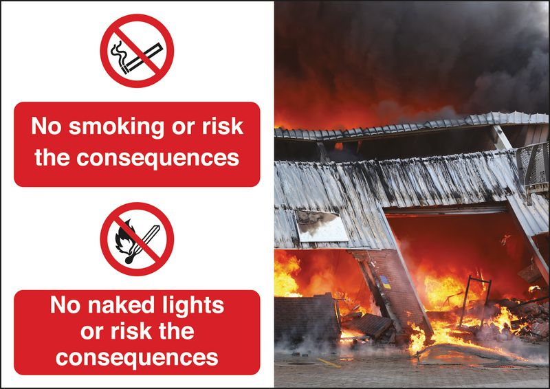 No Smoking No Naked Lights Consequence Signs