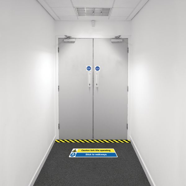 Safety Zone Floor Marking Kits - Caution Fork Lifts