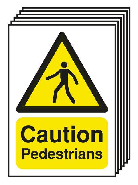 6-Pack Caution Pedestrians Signs