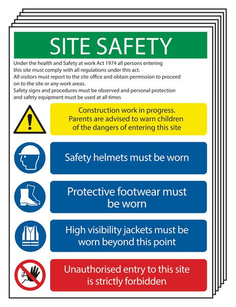 6-Pack Construction Work/Unauthorised Entry... Site Signs