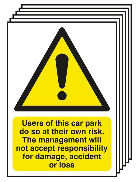 6-Pack Car Park Risk/Responsibility For Damage Signs