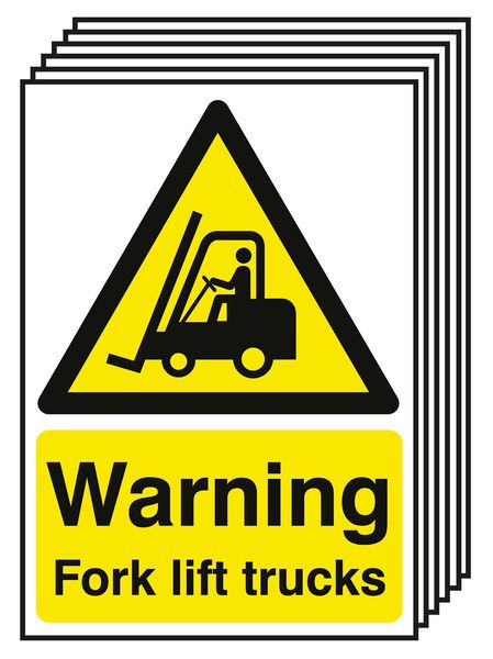 6-Pack Warning Fork Lift Trucks Signs