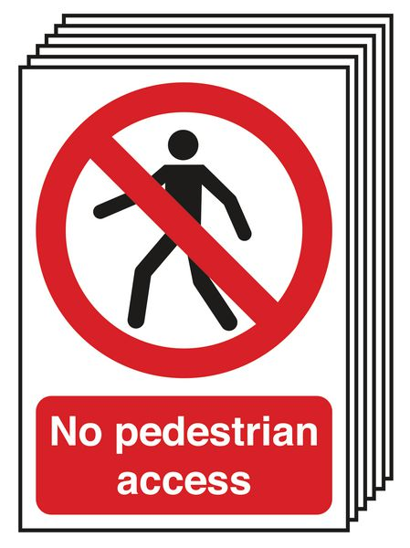 6-Pack No Pedestrian Access Signs