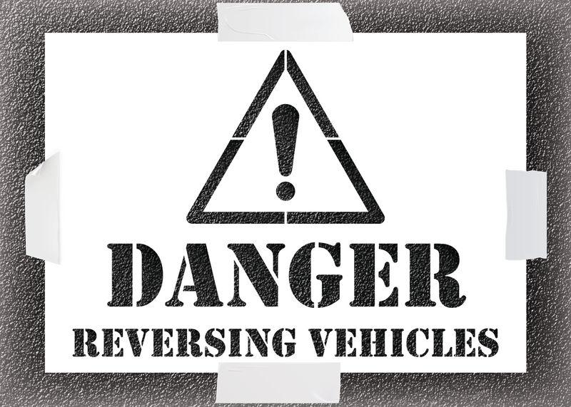 Reusable Stencil - Danger Reversing Vehicle