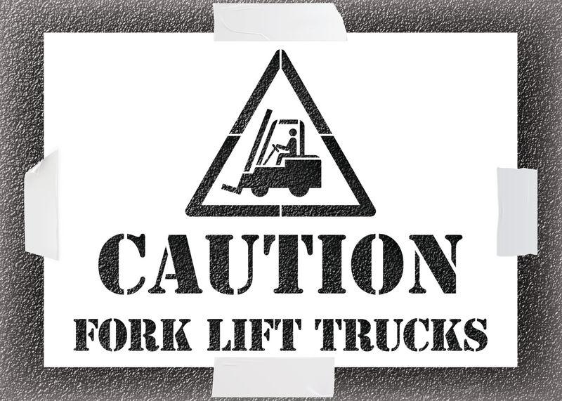 Reusable Stencil - Caution Forklift Trucks