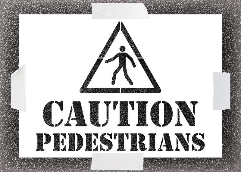Reusable Stencil - Caution Pedestrians