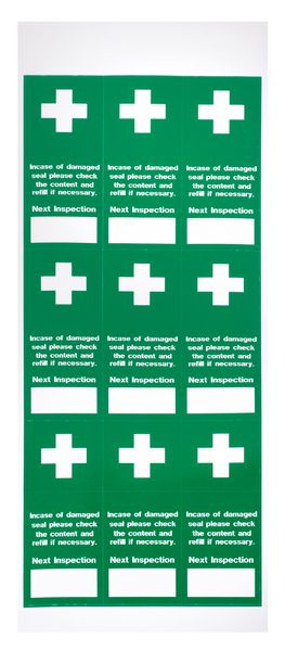 Tamper-proof First Aid Inspection Labels