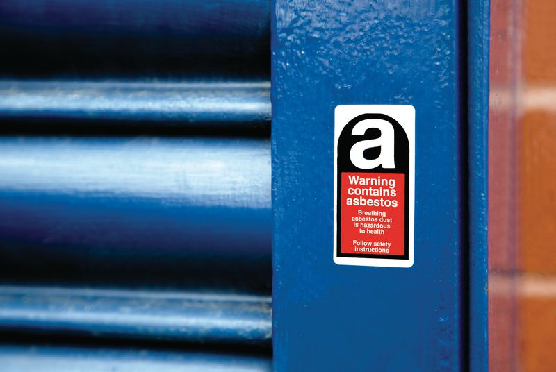 Warning Contains Asbestos Vinyl Safety Labels On-a-Roll