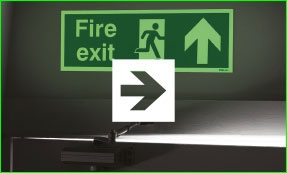 Photoluminescent forward arrow fire exit sign with arrow icon