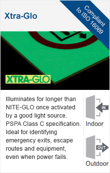 Xtra-Glo photoluminescent sign