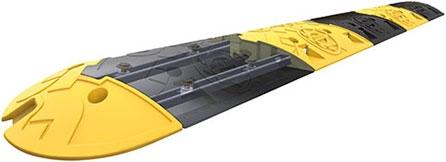 Yellow and black PVC Sleeping Policeman with rail